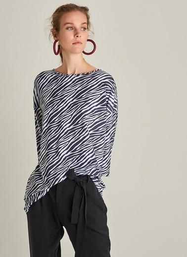 NGSTYLE Zebra Desenli Tunik Tişört Beyaz